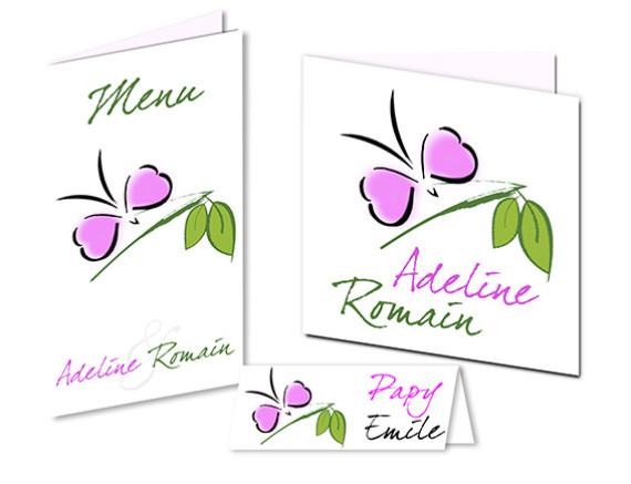 Faire part Mariage - Thème Papillon