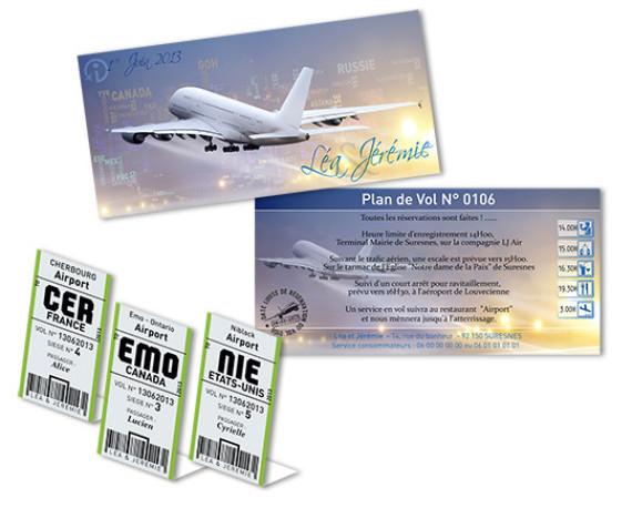 Faire part Mariage Billet d'Avion Compagnies aériennes