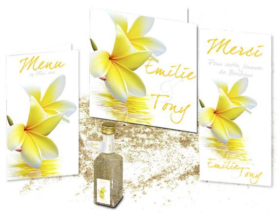 Faire part Mariage Fleurs de Tiaré Tahiti