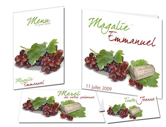 Faire-part mariage personnalisé Vins Raisin Gourmandise Médoc Bordeaux