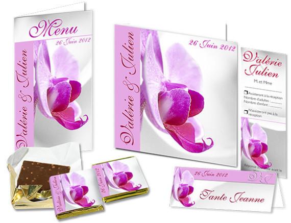 Faire part Mariage Orchidées roses