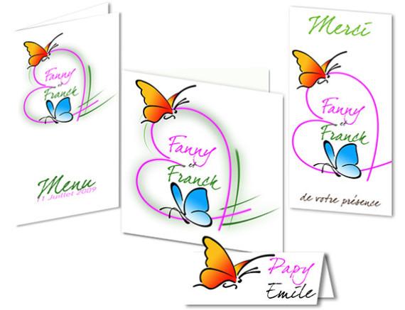faire part Mariage - Thème Papillons