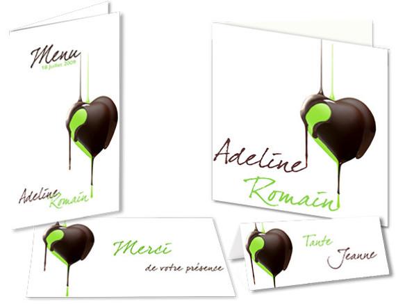 Faire part Mariage Coeur de Chocolat