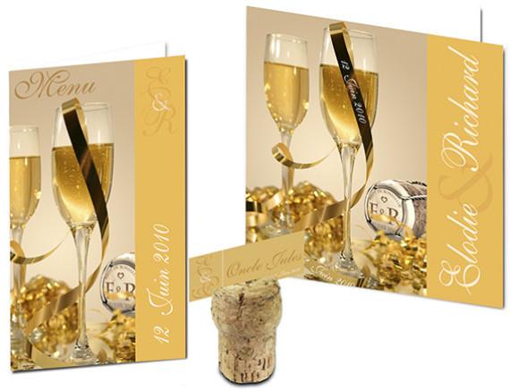 Faire part Mariage - Thème Champagne