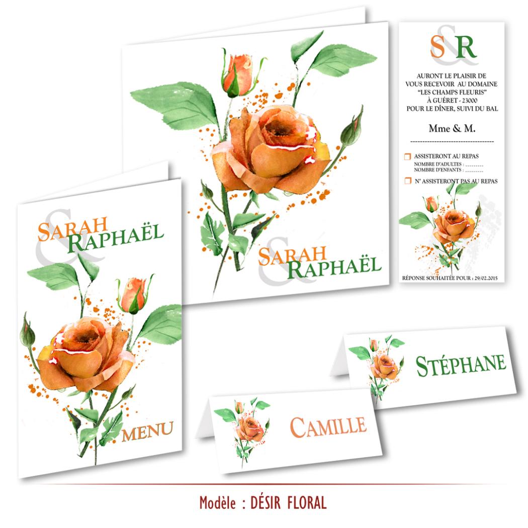 Faire-part mariage bouquet de roses