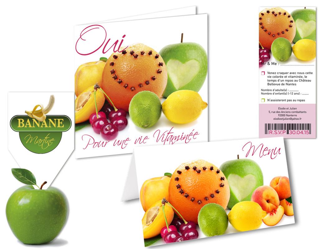 Faire-part mariage Fruits