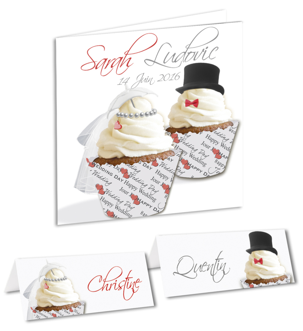 faire-part mariage cup cake