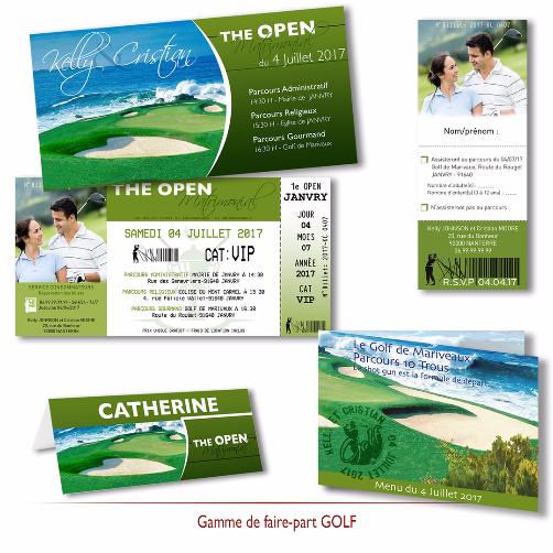 Faire part mariage thème Golf