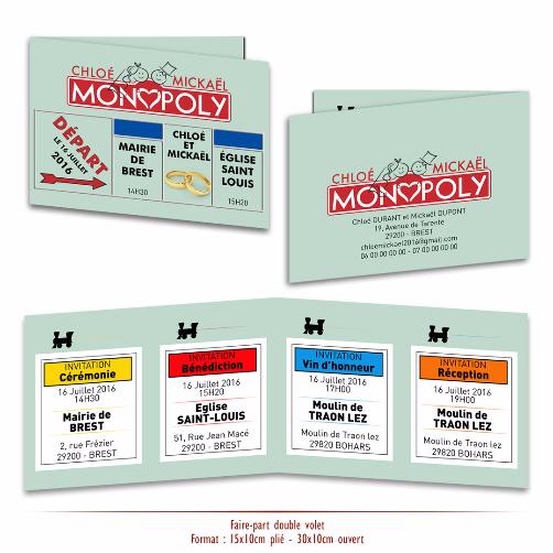 Faire-part Double Volets Monopoly