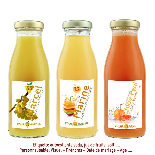Etiquettes bouteille soft personnalisables. Etiquette personnalisée jus de  fruits