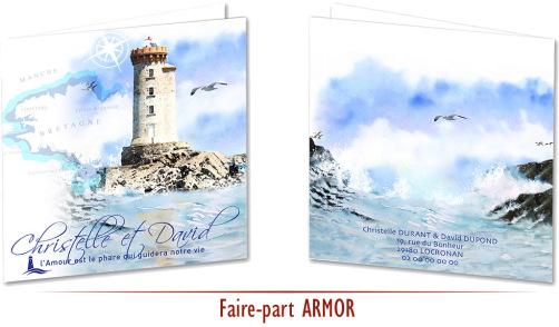 Faire-part de Mariage : thème Bretagne phares Breton France