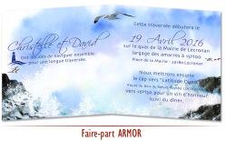 Faire-part de Mariage Bretagne - phare Breton Aquarelle