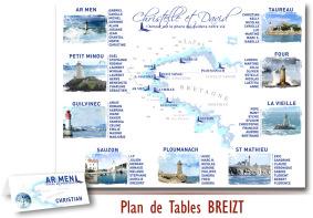 Plan de Tables Mariage Bretagne BREITZ - phares Breton
