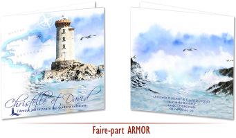 Faire-part Mariage Bretagne Armor - Aquarelle phares Bretons