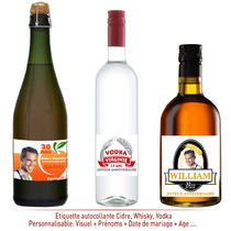 Etiquette Autocollante Cidre et Whisky