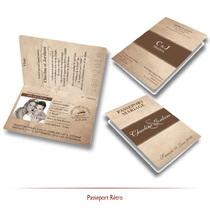 Faire-part mariage passeport vintage