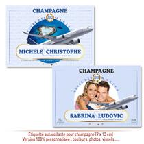 Etiquette Champagne pour bouteilles Mariage
