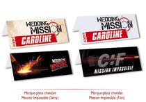 Marques Places personnalisés Faire-part Mariage thème Mission Impossible Original pas cher mi:3