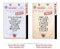 Marques Tables Faire-part Mariage thème Mission Impossible Original pas cher mi:3