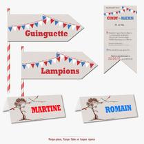 Faire-part Mariage Nostalgie Guinguette Original Pas cher