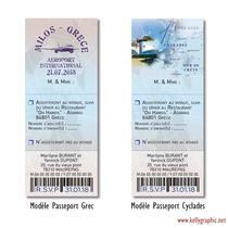 Coupon Réponse Mariage personnalisé Voyage Billet Avion Passeport Train