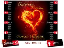 Plan de Tables Mariage - Flammes Coeur de Feu
