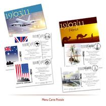 Menu carte postale voyage