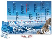 Plan de Tables thème Ski Montagne Savoie - Mariage personnalisée