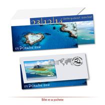 Faire-part Mariage Billet avec pochette voyage island
