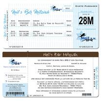 Faire-part Billet Avion Pochette Bar Mitzvah - Bat Mitzvah