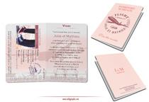 Faire-part Mariage Pantone 2019 Corail : Passeport Voyage