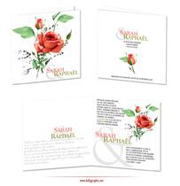 Faire-part Mariage Pantone 2019 Corail : Roses d'Amour